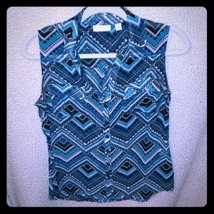 Multi blue tank styled blouse.